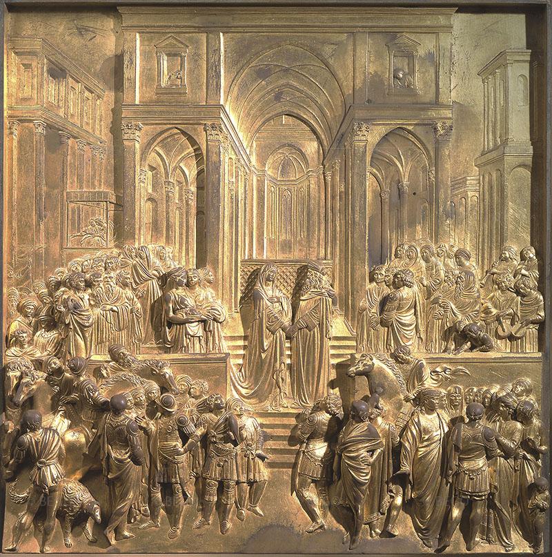 Incontro della regina di Saba con il re Salomone, Porta del Paradiso - Battistero di San Giovanni, Firenze - © Opera di Santa Maria del Fiore, Firenze