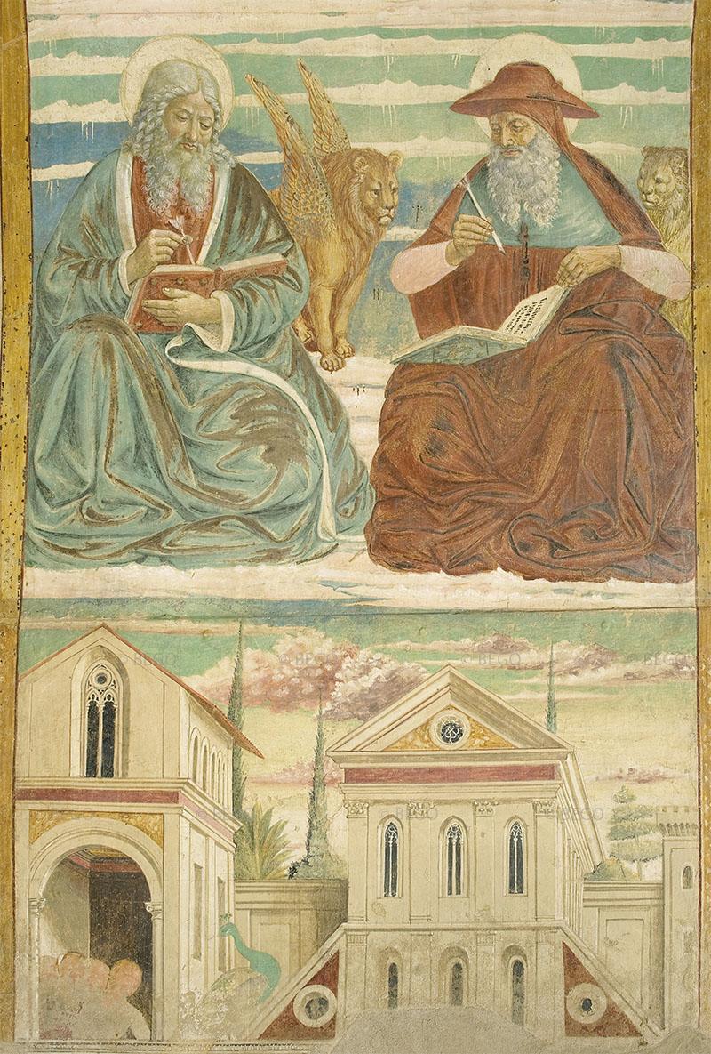 Gli Evangelisti e i Dottori della Chiesa 3 - Intradosso del tabernacolo della Visitazione, dettaglio