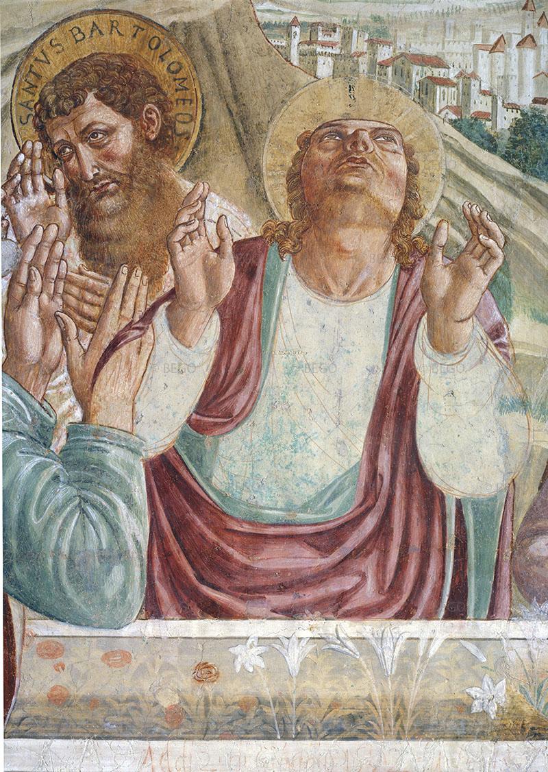Dettaglio del tabernacolo della Madonna della Tosse - Con i disegni preparatori in vista